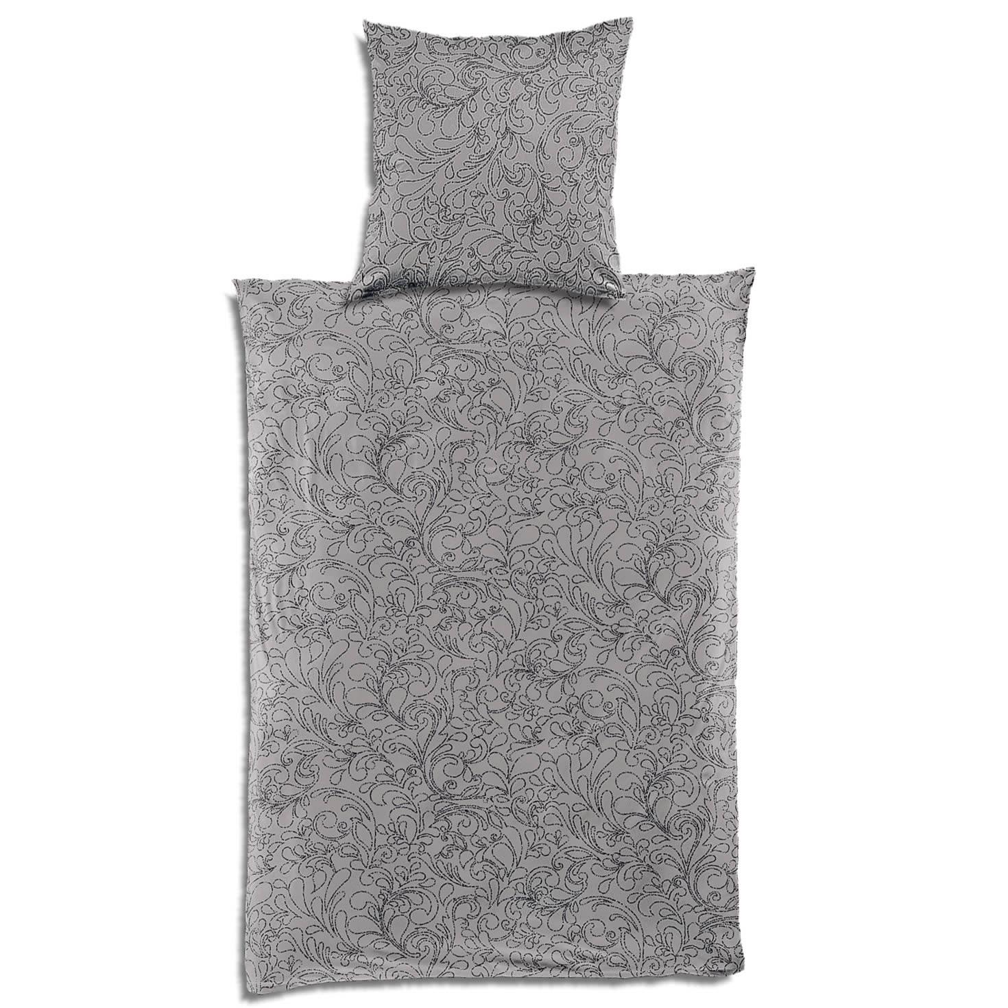 Bierbaum Jersey Bettwäsche 135x200 Cm 3293 01 Grau Schwarz Blätter