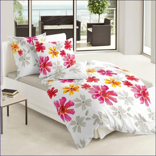 Bierbaum Mako Satin Bettwäsche 135x200 Cm Design 6203 13 Weiß Rosa Rot
