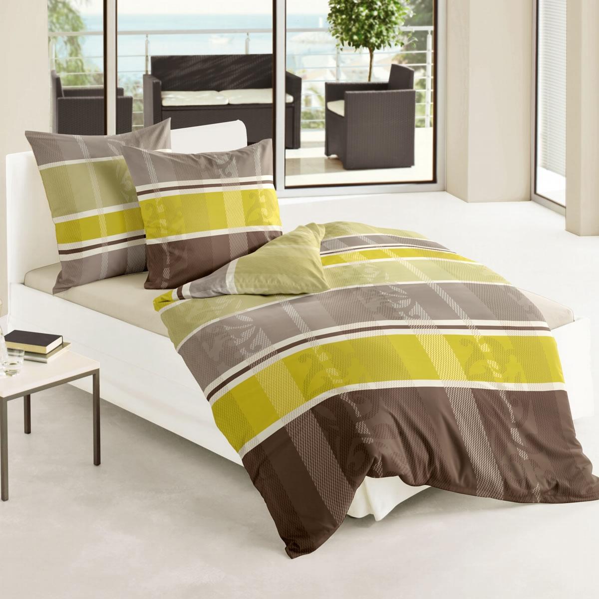 Bierbaum Biber Bettwäsche 200x200 Cm Design 64917 Limone Gestreift