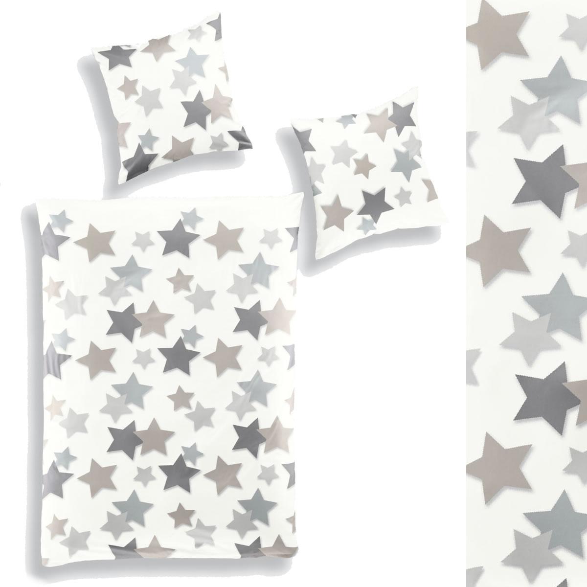 Bierbaum Biber Bettwäsche 200x200 2x80x80 Cm 67281 Silber Sterne