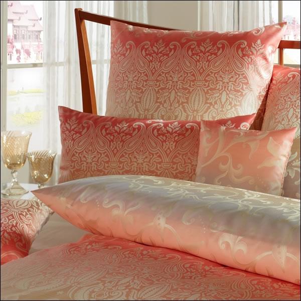 curt bauer mako brokat damast bettw sche kissenbezug sabah 2440 1614 rosakoralle ebay. Black Bedroom Furniture Sets. Home Design Ideas