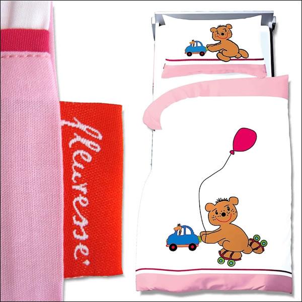 fleuresse kinder bettw sche 100x135 cm rosa mit stickerei motiv teddy. Black Bedroom Furniture Sets. Home Design Ideas