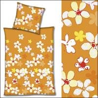 Hahn Renforce Bettwäsche 200x200 cm 123008-021 orange mit Blumen