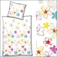 Hahn Renforce Bettwäsche 200x200 cm 123008-041 weiß mit bunten Blumen