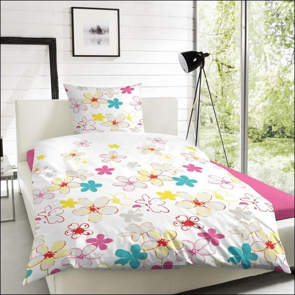 renforce bettw sche 200x200 cm 123008 041 wei gelb rot blau rosa blumen bl ten ebay. Black Bedroom Furniture Sets. Home Design Ideas