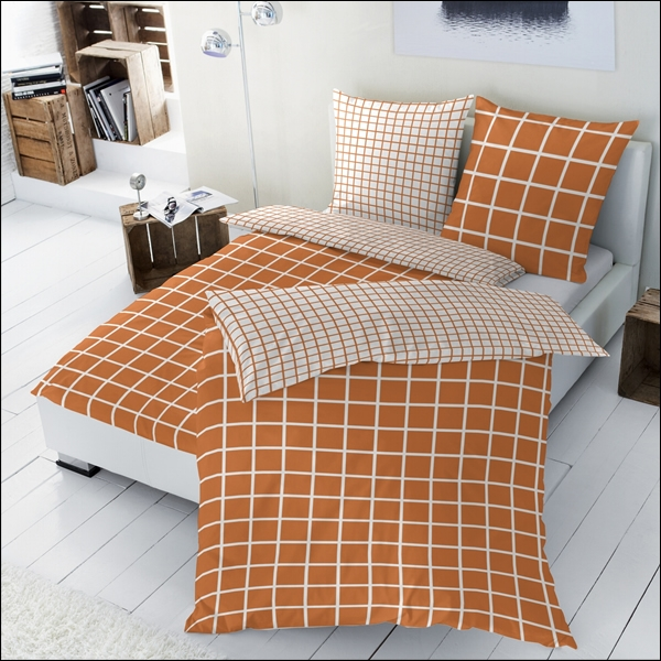 hahn renforce bettw sche 200x200 cm 125002 021 wendebettw sche kariert orange sachsen. Black Bedroom Furniture Sets. Home Design Ideas