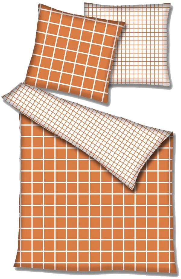 Renforce Wende Bettwäsche 200x200 Cm 125002 021 Orange Natur Kariert