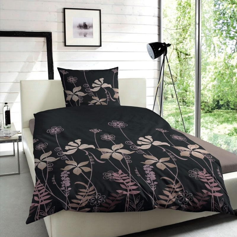 4 tlg hahn edel flanell bettw sche 2x 155x220 cm 173010 097 blumen. Black Bedroom Furniture Sets. Home Design Ideas