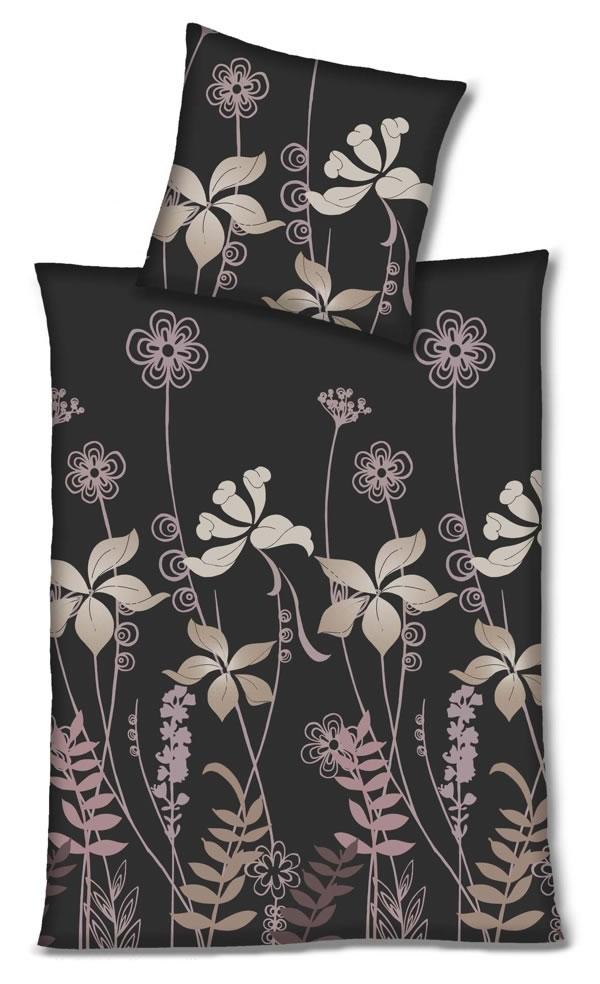 4 tlg hahn edel flanell bettw sche 2x 155x220 cm 173010 097 blumen. Black Bedroom Furniture Sets. Home Design Ideas