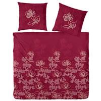Hahn Edelflanell Bettwäsche 200x200 Design 174007-022 granat Blumen