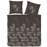 Hahn Edelflanell Bettwäsche 200x200 Design 174007-077 braun Blumen