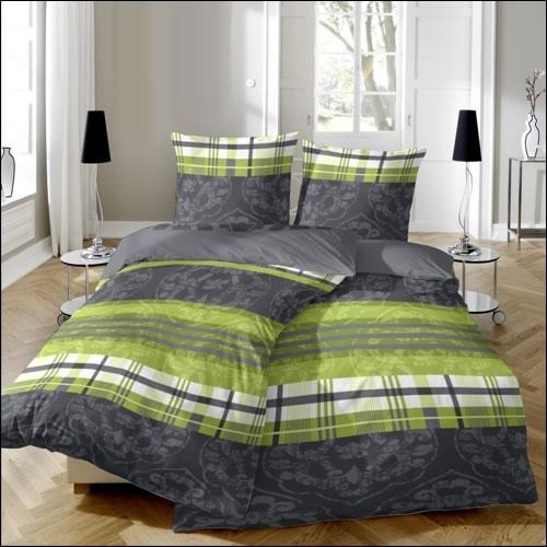 hahn edelflanell bettw sche in 200x200 cm design 174011 085 grau gr n biber ebay. Black Bedroom Furniture Sets. Home Design Ideas