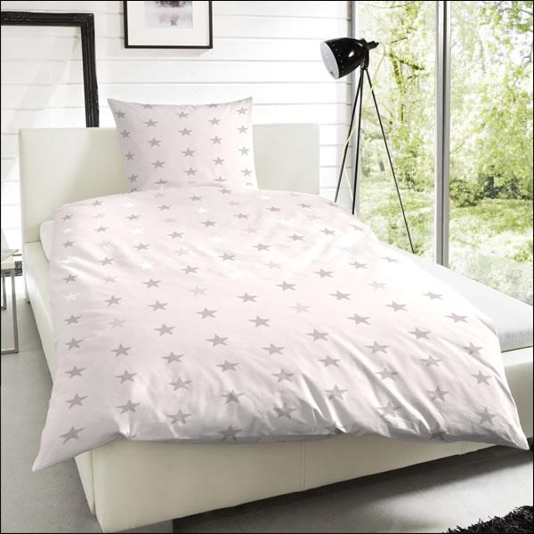 edel flanell bettw sche 200x200 cm design 174031 007 sterne ecru grau modern ebay. Black Bedroom Furniture Sets. Home Design Ideas