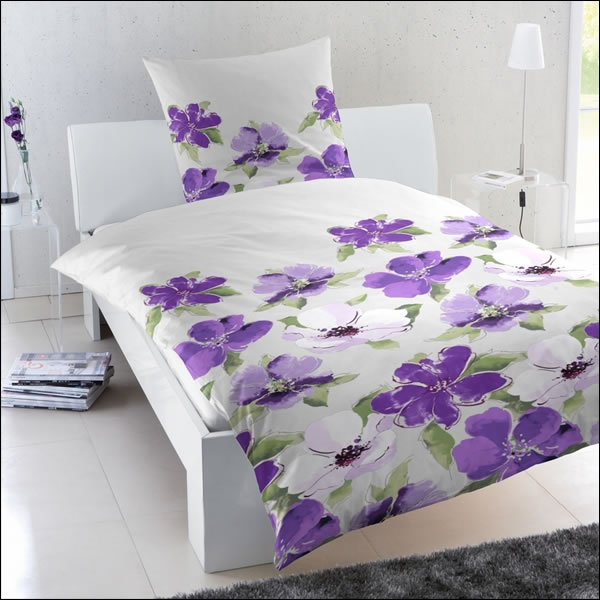 mako satin bettw sche 200x200 cm 243103 065 100 baumwolle lila gr n wei blumen ebay. Black Bedroom Furniture Sets. Home Design Ideas