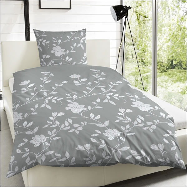 hahn mako satin bettw sche 200x200 cm 243126 088 blumen grau wei 100 baumwolle ebay. Black Bedroom Furniture Sets. Home Design Ideas