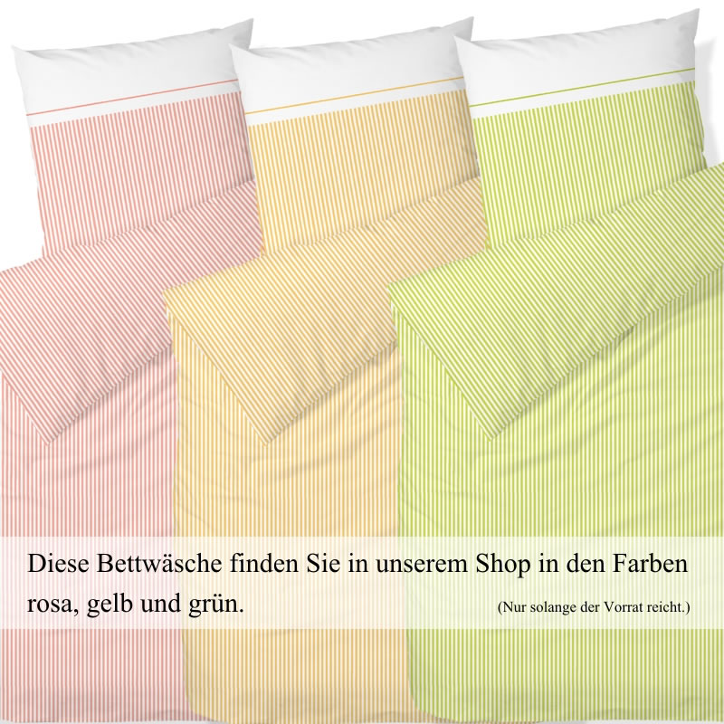 Hahn Satin Bettwäsche 200x200 Cm 8243004 010 Grün Weiß Gestreift