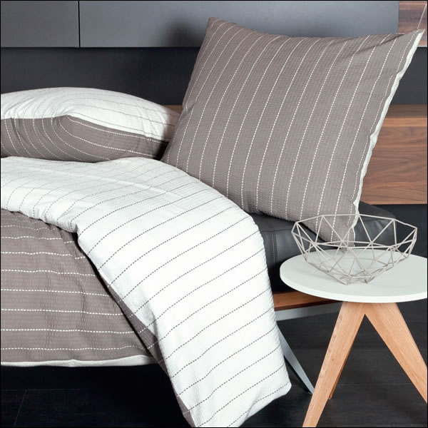 janine mako soft seersucker wende bettw sche tango 20020 07 taupe wei gestreift ebay. Black Bedroom Furniture Sets. Home Design Ideas