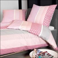 Janine Mako Soft Seersucker Bettwäsche Tango 20043-01 rosa grau weiß