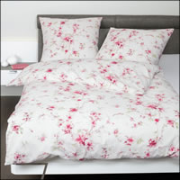 Janine Mako Soft Seersucker Bettwäsche Tango 20096-01 rot rosé Blumen Blüten