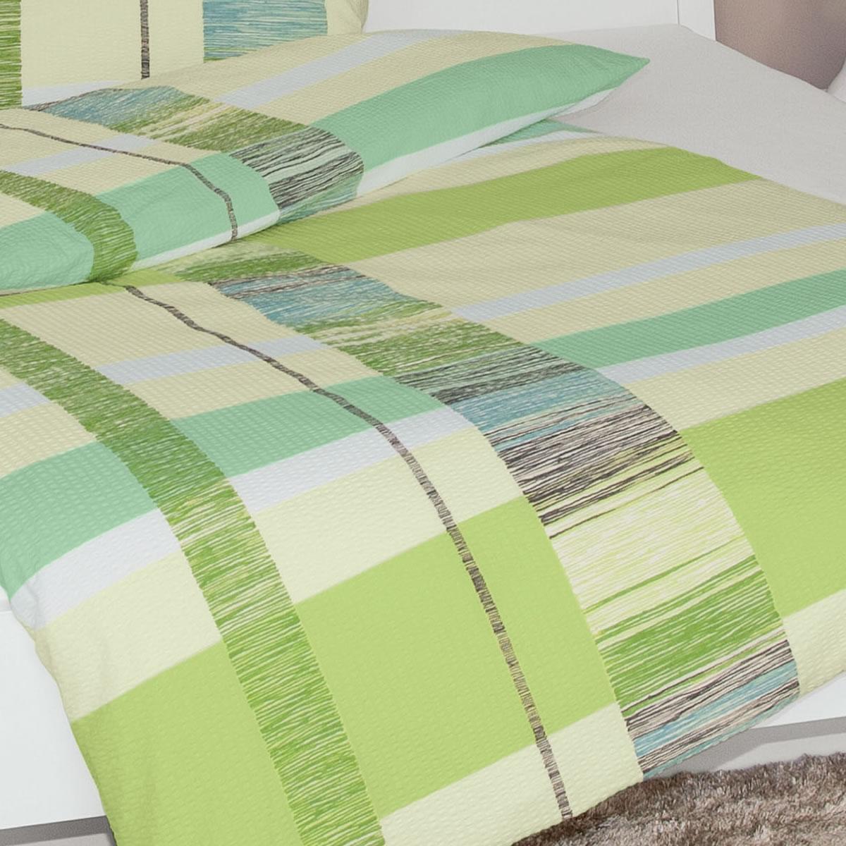 janine mako soft seersucker bettw sche tango design 2377 06 gr n kariert. Black Bedroom Furniture Sets. Home Design Ideas