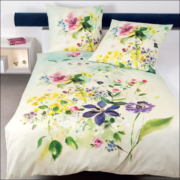 janine mako satin wende bettw sche modern art 42028 09 multicolor blumen gr n ebay. Black Bedroom Furniture Sets. Home Design Ideas