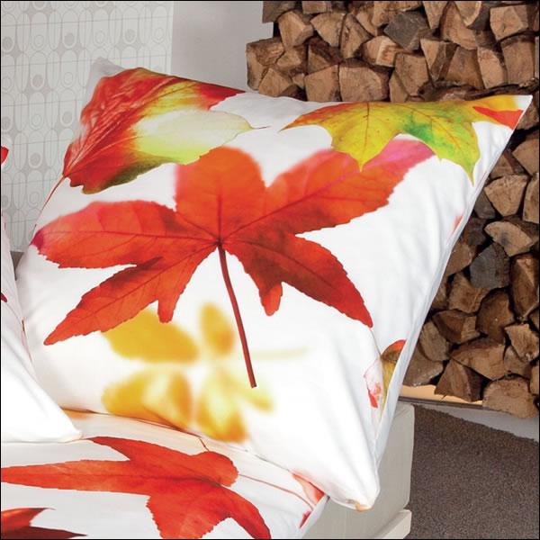 Janine Mako Satin Wende Bettwäsche Modern Art 42032 04 Orangerot