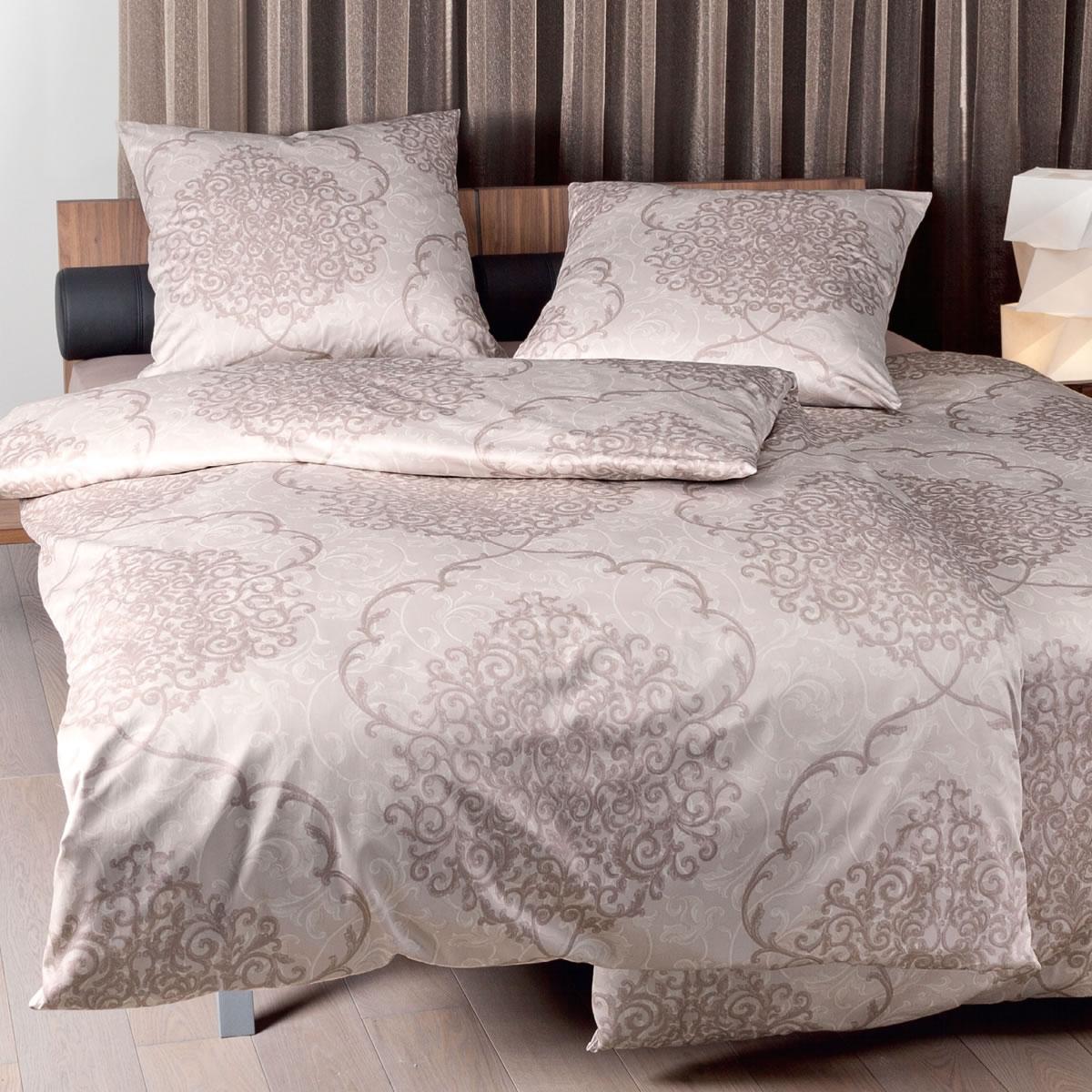 janine mako satin bettw sche messina 43015 07 sand braun ornamente. Black Bedroom Furniture Sets. Home Design Ideas