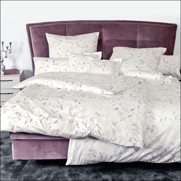 janine mako satin bettw sche messina 43020 01 fuchsienrosa ecru malve blumen ebay. Black Bedroom Furniture Sets. Home Design Ideas