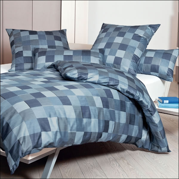 janine mako satin bettw sche messina 43030 02 blau kariert karos geometrisch ebay. Black Bedroom Furniture Sets. Home Design Ideas
