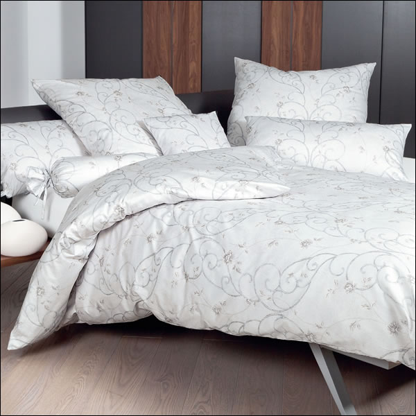 janine mako satin bettw sche messina 43033 08 silber pergament grau blumen ranke ebay. Black Bedroom Furniture Sets. Home Design Ideas