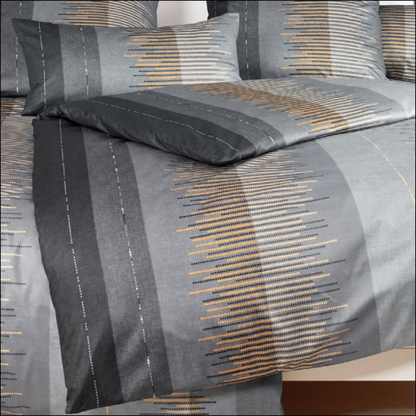 janine mako satin bettw sche messina 43034 08 graphit grau vanille streifen ebay. Black Bedroom Furniture Sets. Home Design Ideas