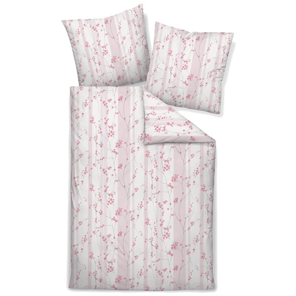 janine mako satin bettw sche messina 43043 01 ros rosa wei blumen streifen ebay. Black Bedroom Furniture Sets. Home Design Ideas