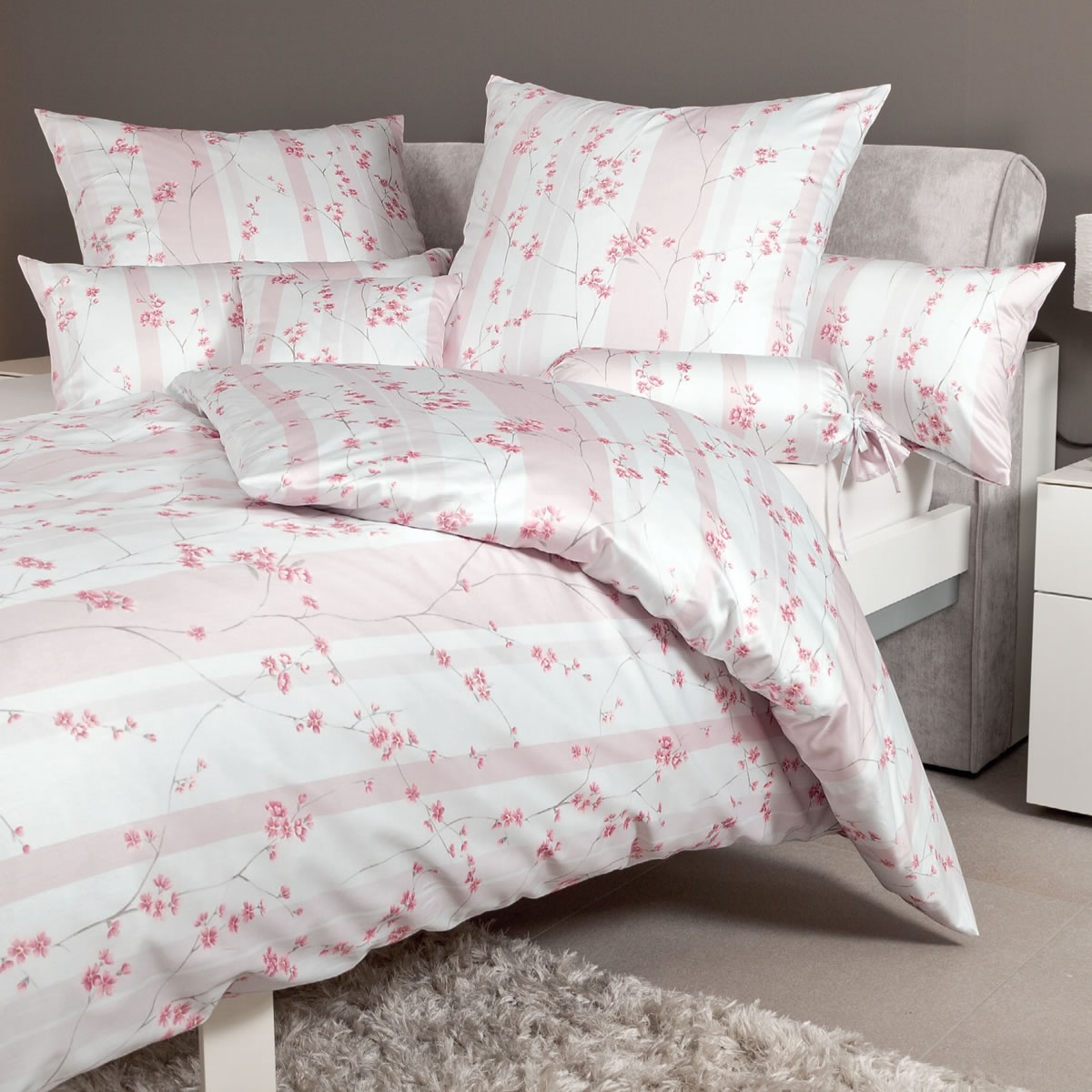 Janine Mako Satin Bettwäsche Messina 43043 01 Rosé Rosa Blumen