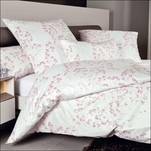 ec45be550c4167 Janine Mako Satin Bettwäsche Messina 43044-01 rosa silber ecru Blumen Blüten