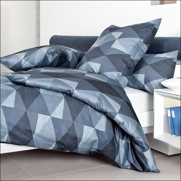 janine mako satin bettw sche messina 43069 02 blau marine geometrisch dreiecke ebay. Black Bedroom Furniture Sets. Home Design Ideas