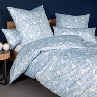 Janine Mako Satin Bettwäsche Messina 43102-02 Ornamente blau weiß