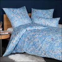 Janine Mako Satin Bettwäsche Messina 43118-02 Vögel Blumen blau weiß