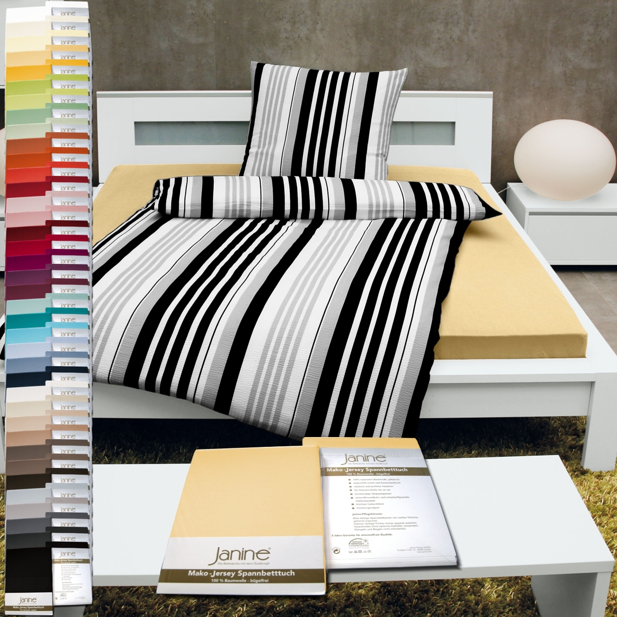 janine classic mako jersey spannbettlaken von 90x190 bis 200x200 cm. Black Bedroom Furniture Sets. Home Design Ideas