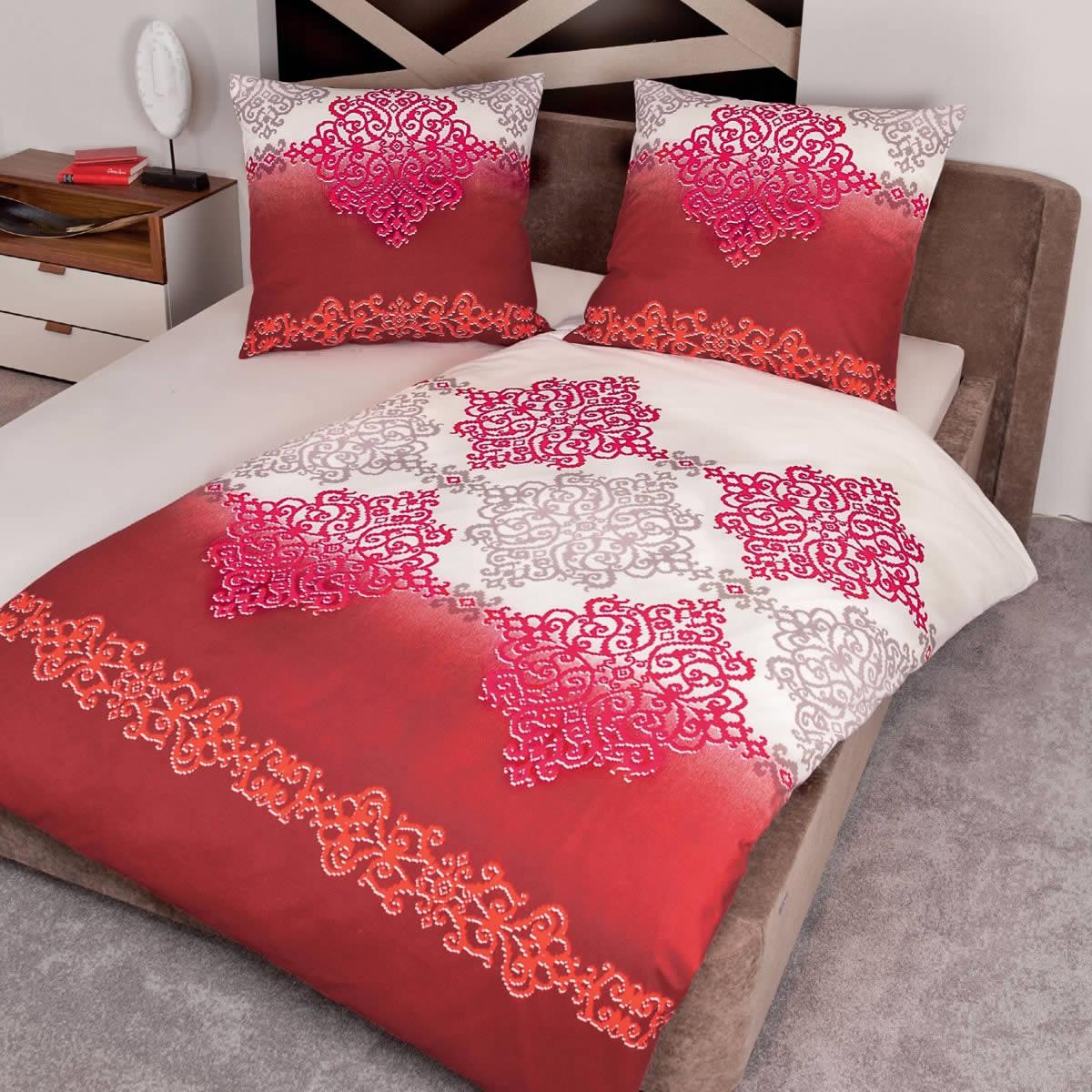 Janine Fein Biber Bettwäsche Davos In 200x200 Cm 6459 01 Rot Ornamente