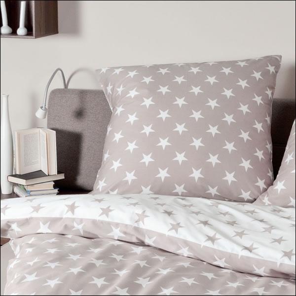 janine biber bettw sche davos design 6466 07 taupe sterne. Black Bedroom Furniture Sets. Home Design Ideas