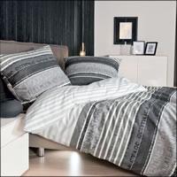 Janine Fein-Biber Bettwäsche Davos Design 6481-08 platin-graphit