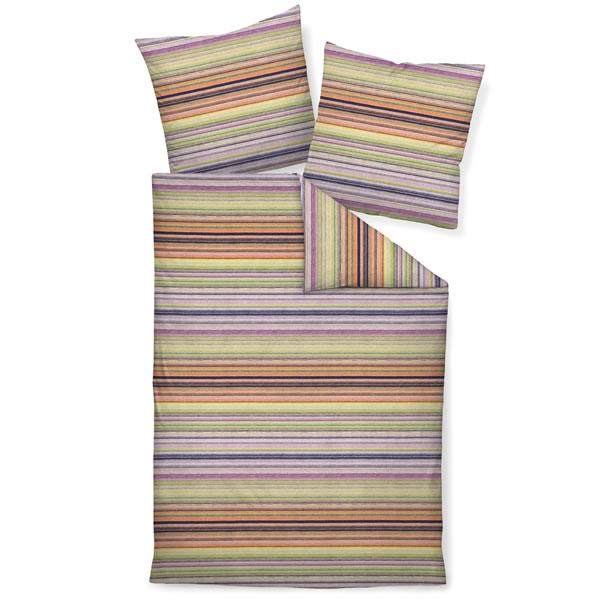 janine fein biber bettw sche davos 65011 04 orange gr n beere gelb gestreift ebay. Black Bedroom Furniture Sets. Home Design Ideas