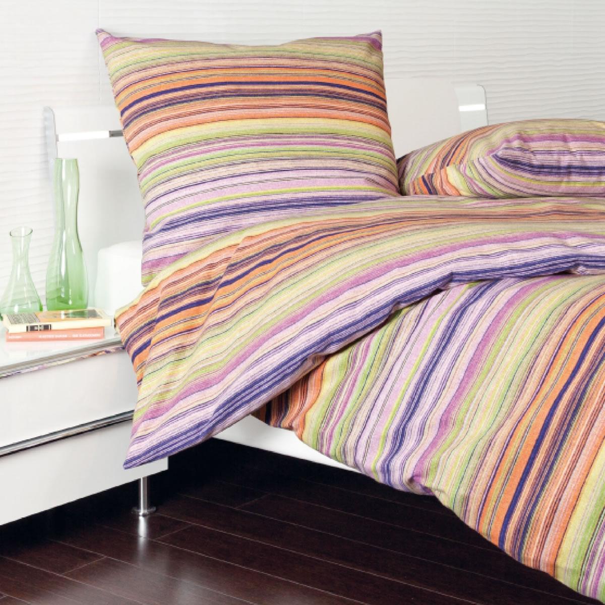 janine feinbiber bettw sche davos 65011 04 orange gr n beere gestreift. Black Bedroom Furniture Sets. Home Design Ideas