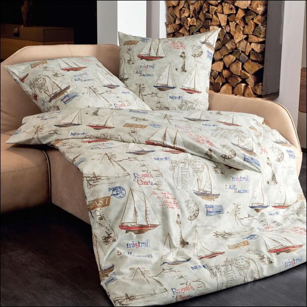 janine fein biber bettw sche davos 65012 08 kristallgrau sand segelboot boot ebay. Black Bedroom Furniture Sets. Home Design Ideas