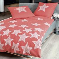 Janine Fein-Biber Bettwäsche Davos 65018-01 korallenrot Sterne Stars