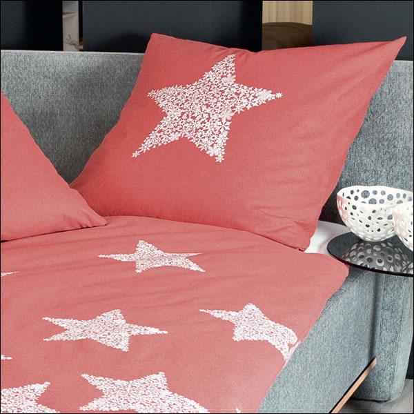 janine fein biber winter bettw sche davos 65018 01 korallenrot wei sterne stars ebay. Black Bedroom Furniture Sets. Home Design Ideas