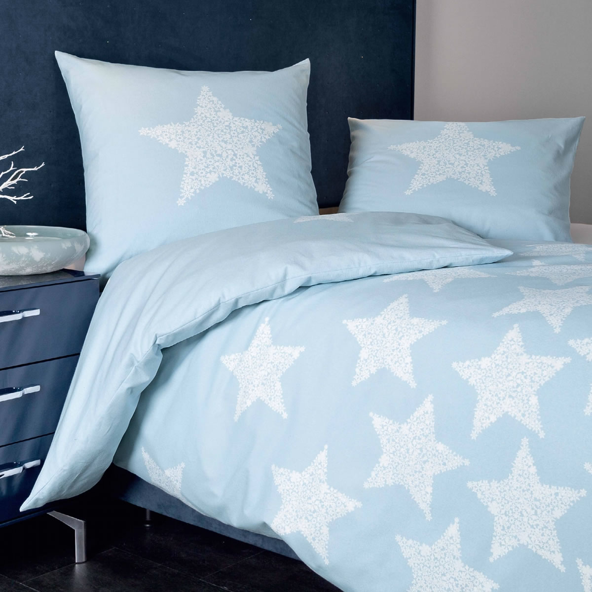 janine fein biber bettw sche davos 65018 02 kristallblau stern stars. Black Bedroom Furniture Sets. Home Design Ideas
