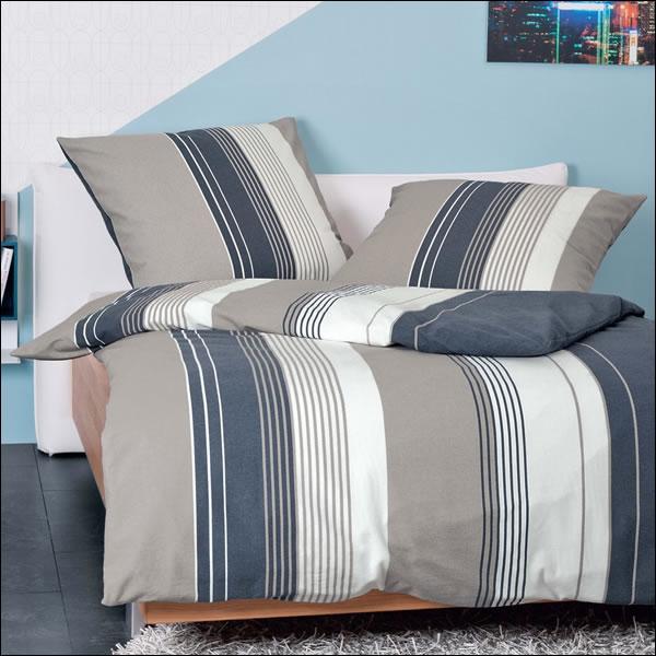 janine fein biber bettw sche davos 65028 07 taupe jeans wei gestreift modern ebay. Black Bedroom Furniture Sets. Home Design Ideas