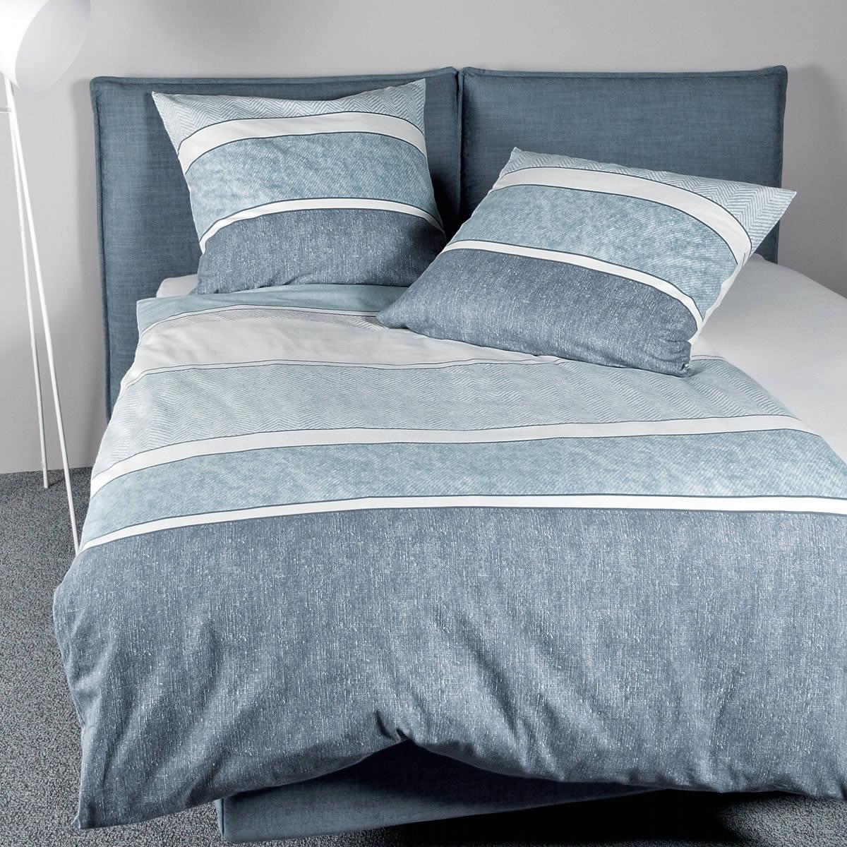Janine Fein Biber Bettwäsche Davos 65047 02 Blau Weiß Modern Streifen