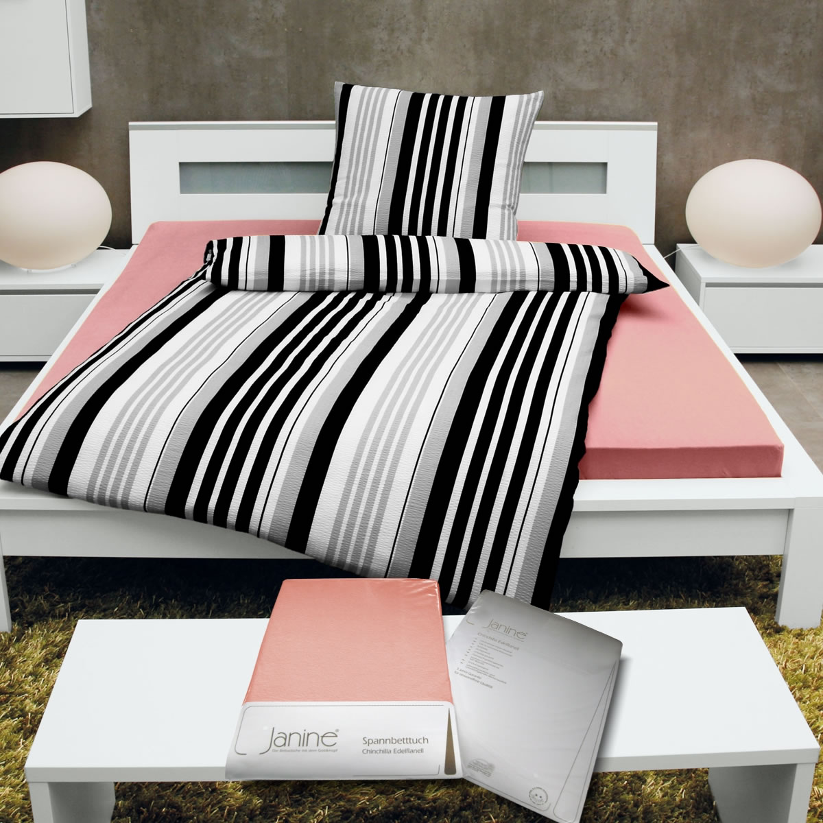 janine chinchilla edel flanell biber spannbettlaken baumwolle spannbetttuch ebay. Black Bedroom Furniture Sets. Home Design Ideas
